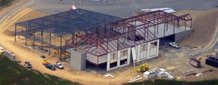An aerial view of a commercial construction site