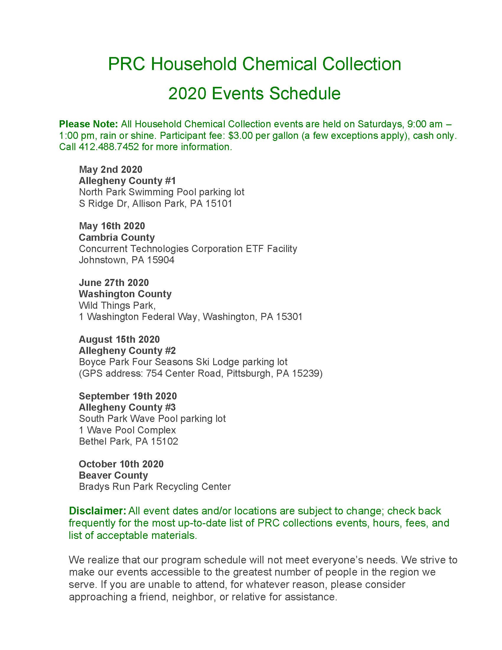 2020 Household Chemical Collection Events