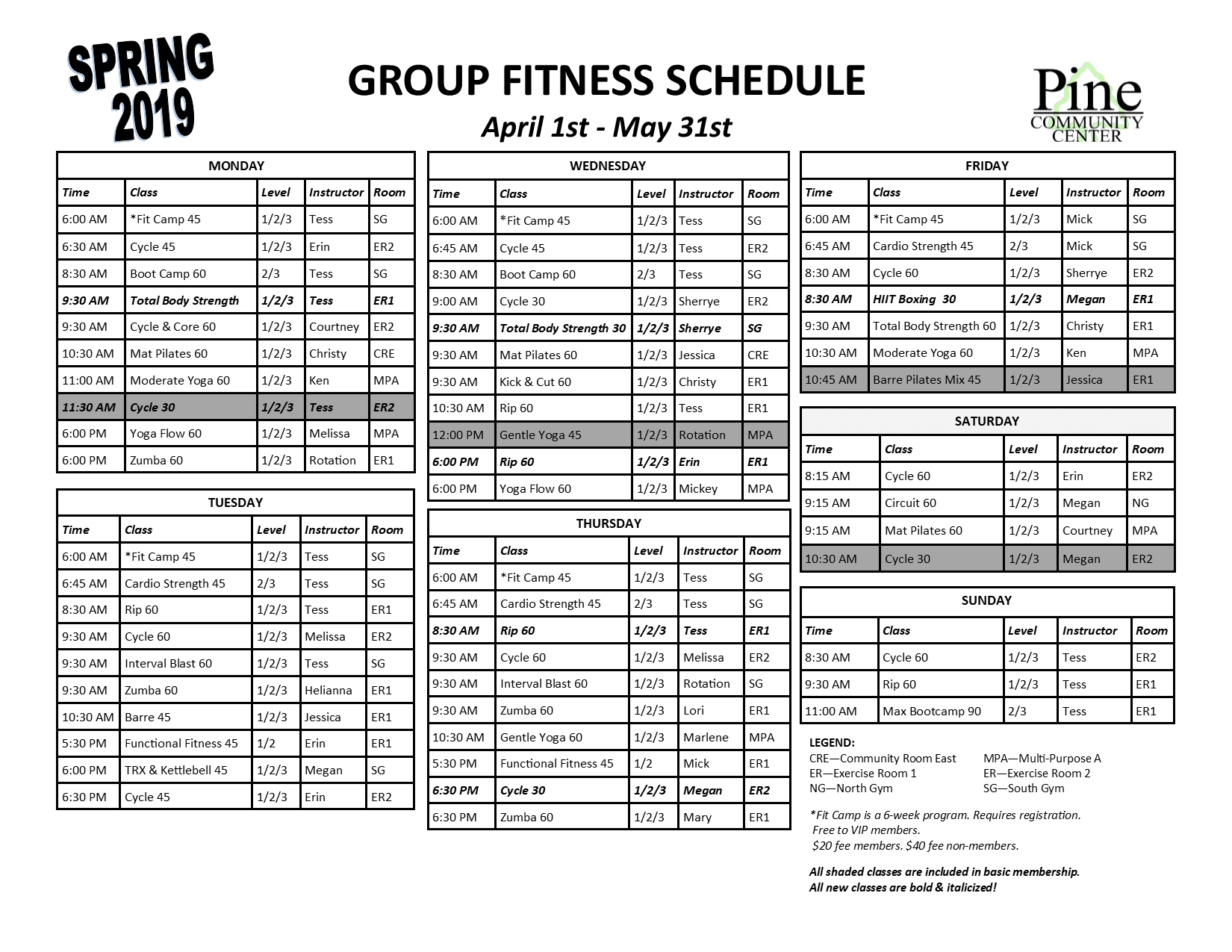 Group Fitness Schedule Spring 2019